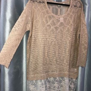 See through beige sweater with lace trim at bottom